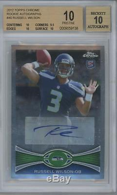 2012 Topps Chrome #40 Russell Wilson RC Pristine BGS 10 10 Auto