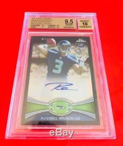 2012 Topps Chrome BLACK ROOKIE Russell Wilson Refractor RC /25 BGS 9.5 AUTO 10