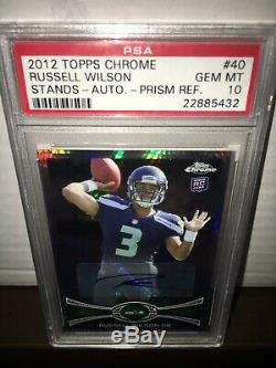 2012 Topps Chrome Prism AUTO Refractor Russell Wilson RC #44/50 PSA 10 POP 4