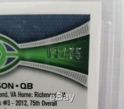 2012 Topps Chrome RUSSELL WILSON Auto Autograph Pink Refractor Jersey #03/75 1/1
