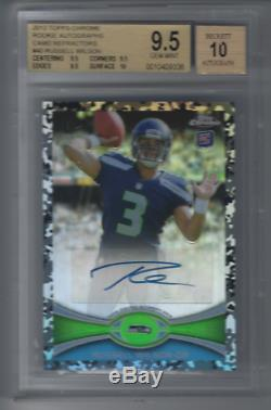2012 Topps Chrome RUSSELL WILSON Camo Refractor Auto RC /105 BGS 9.5 with 10 Auto