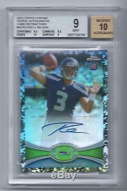 2012 Topps Chrome RUSSELL WILSON Camo Refractor Auto RC /105 BGS 9 with 10 Aut0