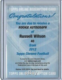 2012 Topps Chrome Russell Wilson Auto Autograph Rookie Card RC #40 + Redemption