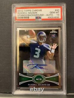 2012 Topps Chrome Russell Wilson Auto Rookie Psa 10 Gem Mint Card #40 Rc Signed