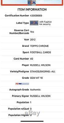 2012 Topps Chrome Russell Wilson RC Auto Autograph PSA 10 Gem MINT 1/1