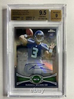2012 Topps Chrome Russell Wilson Rookie Auto RC BGS 9.5 Gem Mint Seahawks Invest