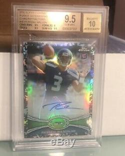 2012 Topps Chrome Russell Wilson Rookie Camo Refractor Auto Bgs 9.5/10 #12/105
