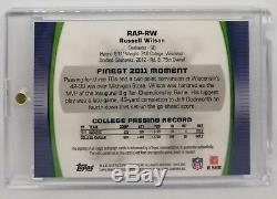 2012 Topps Finest Pulsar Russell Wilson 3 color patch Rc Auto 18/25 Seahawks