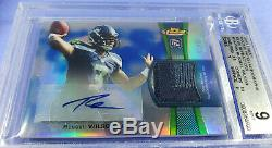 2012 Topps Finest Russell Wilson Rookie Refractor Auto Patch Jersey Sp Rc 99 Psa