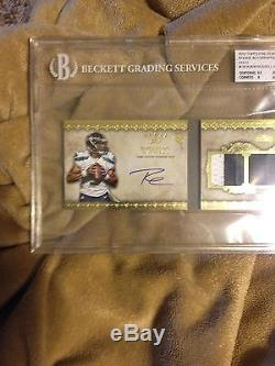 2012 Topps Five Star Gold Russell Wilson Triple Jersy Auto 1o/15 Bgs 8 Rc Hot