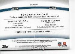 2012 Topps Platinum Dual RC Auto Jersey Patch Russell Wilson /Robert Turbun /25
