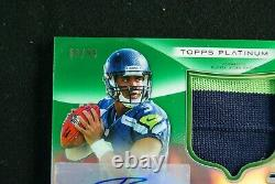 2012 Topps Platinum Green Refractor Auto Russell Wilson RC # 63/99 Seahawks