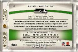 2012 Topps Platinum RUSSELL WILSON /99 Green Refractor 3 Color Rookie Patch Auto