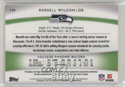 2012 Topps Platinum Refractor /250 Russell Wilson #138 RPA Rookie Patch Auto