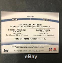 2012 Topps Platinum Russell Wilson RC /Turbin Auto Patch #/25 Sick Patch Read