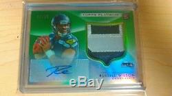 2012 Topps Platinum Seahawks RC Russell Wilson 3 Color patch Auto green 85/99