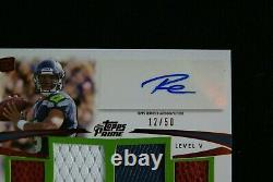 2012 Topps Prime Auto Relics Level 5 Copper Russell Wilson RC # 12/50 Seahawks