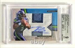 2012 Topps Strata RUSSELL WILSON #58/75 Clear Cut Rookie Patch Auto BGS 9/10