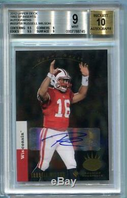 2012 Upper Deck Russell Wilson 1993 Inserts Auto Rc Bgs 9 Auto 10 F7788745