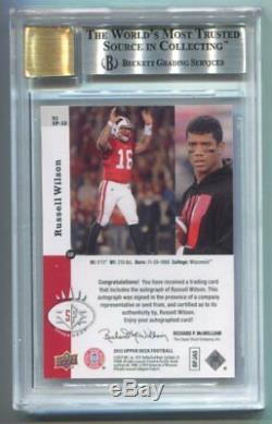2012 Upper Deck Russell Wilson 1993 Sp Inserts Auto RC #58 BGS 9 Mint