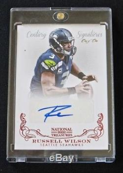 2013 National Treasures Russell Wilson RC Century Red Signatures Auto #d 1/1