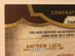 2013 Triple Threads Russell Wilson Andrew Luck Rg3 Auto Relic #'d 09/18