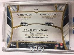 2014 Topps Supreme Dual Auto #d 11/15 Seahawks Russell Wilson & Marshawn Lynch