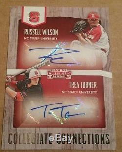 2015 Contenders Baseball Russell Wilson Trea Turner Dual Auto SSP NC State