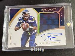 2015 Immaculate Russell Wilson Game Used On Card Auto /10 ssp