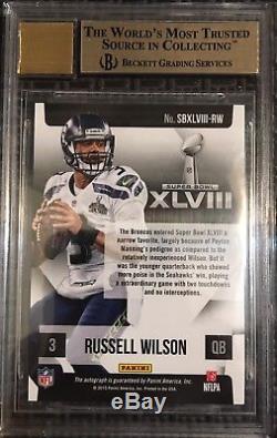 2015 Panini Russell Wilson Super Bowl XLVIII Signature Auto BGS 9.5 10 Seahawks