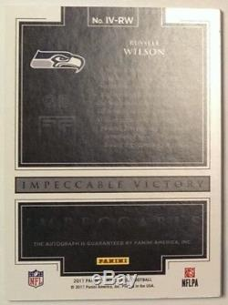 2017 Impeccable RUSSELL WILSON On-Card Auto Gold Super Bowl Victory 3/3 = 1/1