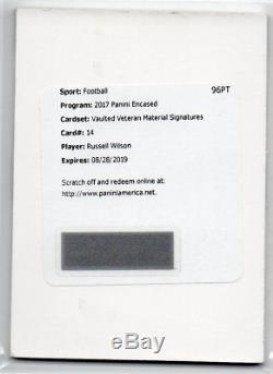 2017 Panini Encased Russell Wilson Vaulted Veteran Material Signatures Auto #/5