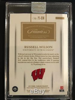 2017 Panini Flawless RUSSELL WILSON PREMIUM INK AUTO CARD #10/10