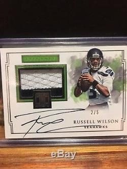 2017 impeccable football russell wilson auto patch 2/5 seahawks