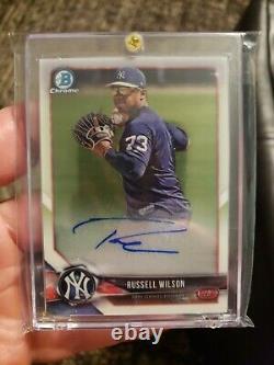 2018 Bowman Chrome Russell Wilson Auto Yankees Seahawks