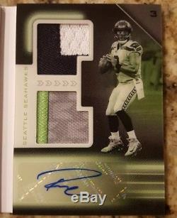 2018 Playbook Russell Wilson Nike Swoosh Patch Auto Book 1/1 Seahawks One-of-One