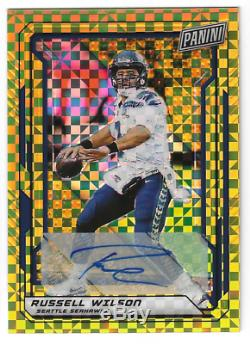 2019 NSCC VIP Panini Russell Wilson Gold Prizm Auto #d 3/5 JERSEY NUMBER Seattle