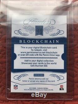 2019 Panini Flawless Russell Wilson Star Swatch Auto 1/1 PLATINUM Blockchain