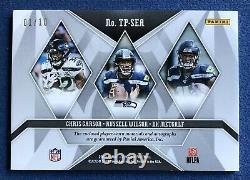 2019 Phoenix Russell Wilson, Carson, DK Metcalf Auto Patch Card #d 1/10 Seahawks