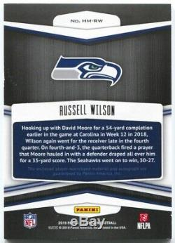 2019 Playbook Russell Wilson Autograph Hail Mary 3 Color Tag Patch Auto #1/1