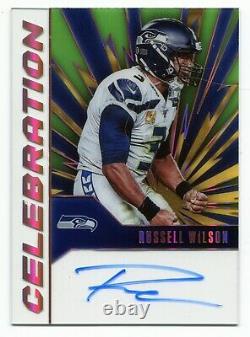 2020-21 Panini Chronicles Russell Wilson Celebration SSP On Card Auto Seahawks
