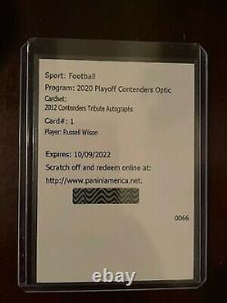 2020 Contenders Optic Russell Wilson 2012 Rookie Tribute Auto SP/25 Seahawks #1