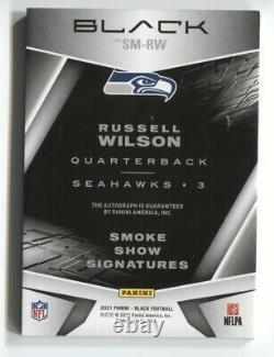 2021 Panini Black Russell Wilson Smoke Show Signatures Gold On Card Auto /3 NRMT