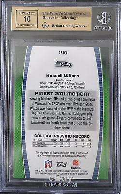 BGS 9.5 2012 FINEST RUSSELL WILSON #140 RC (07/15) RED REFRACTORS AUTO 10 with10