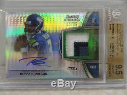 BGS 9.5 TRUE GEM+ 2012 Topps Bowman Sterling Russell Wilson Patch RC Auto #15/36