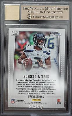 Bgs 9.5 2012 Panini Prizm Russell Wilson #230 Rc (1/1) Prizms Finite Auto 10