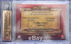 Bgs 9.5 2012 Triple Thread Russell Wilson + Foles + Osweiler (1/1) Plate Auto 10