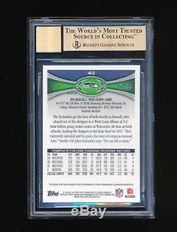 Bgs 9.5 Russell Wilson 2012 Topps Chrome Prism Refractor Auto Rc Jersey #ed 3/50