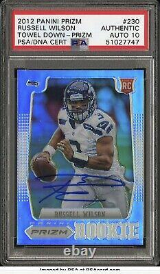 HOLY GRAIL 1/1 2012 Panini Prizm #230 SILVER Russell Wilson Rookie AUTO PSA 10