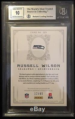 Mint RUSSELL WILSON 2012 National Treasures RPA auto RC /49 Gold Rookie LOGO
